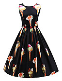 cheap Women's Dresses-Women's Work Holiday Vintage Cotton Sheath Swing Dress - Floral Black, Vintage Style High Rise
