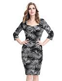abordables Sombreros de mujer-Mujer Tallas Grandes Trabajo Corte Bodycon Vaina Vestido - Estampado Tiro Alto Hasta la Rodilla Escote Cuadrado