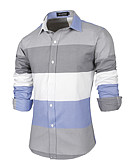 cheap Men's Shirts-Men's Wedding / Party / Daily Boho / Chinoiserie Cotton / Polyester Shirt - Striped / Color Block / Sports / Long Sleeve / Work / Club