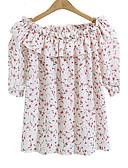 preiswerte Hemd-Damen Blumen - Street Schick Übergrössen Bluse, Bateau Rüsche / Druck / Sommer