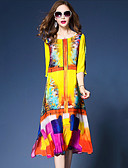 cheap Women's Dresses-Women's Holiday / Going out Loose / Chiffon Dress - Abstract Print Spring Yellow L XL XXL