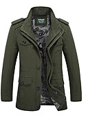 cheap Men's Jackets & Coats-Men's Cotton Jacket - Solid Colored Stand