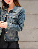 cheap Women's Denim Jackets-Women's Daily Modern/Contemporary Spring Denim Jacket,Solid Shirt Collar Long Sleeve Short Cotton Others