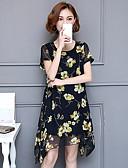 abordables Vestidos de Mujer-Mujer Tallas Grandes Boho Corte Swing Vestido - Elegante Gasa, Floral Hasta la Rodilla