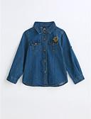 cheap Boys' Clothing-Boys' Solid Shirt, Cotton Spring Fall Long Sleeves Blue