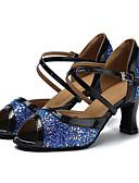 baratos Vestidos de Mulher-Mulheres Sapatos de Dança Latina Glitter / Courino Sandália / Salto Presilha Salto Personalizado Personalizável Sapatos de Dança Branco /