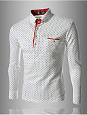 cheap Men's Polos-Men's Daily / Work / Weekend Cotton / Others Polo - Solid Colored Shirt Collar / Long Sleeve