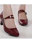 baratos Cachecol Feminino-Mulheres Sapatos de Dança Moderna Couro Envernizado / Couro Ecológico Salto Sapatos de Dança Preto / Vermelho Escuro / Vermelho / Ensaio / Prática