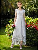 cheap Wedding Dresses-A-Line Jewel Neck Asymmetrical Tulle Over Lace Made-To-Measure Wedding Dresses with Draping / Lace by LAN TING BRIDE®