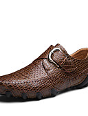 رخيصةأون ساعات الكوارتز-للرجال النعال الخفيفة جلد ربيع / صيف كاجوال / مريح أحذية رياضية أسود / بني