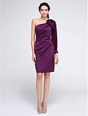 billige Aftenkjoler-Tube / kolonne Enskuldret Knelang Chiffon / Sateng Cocktailfest Kjole med Sidedrapering av TS Couture®