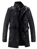 お買い得  メンズジャケット&コート-男性用 プラスサイズ ロング レザージャケット - クラシック スタンド ソリッド