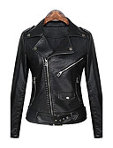 cheap Women's Dresses-Women's Daily Street chic / Punk & Gothic Spring / Fall Short Leather Jacket, Solid Colored Peaked Lapel Long Sleeve PU Black L / XL / XXL
