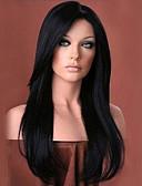abordables Regalos Prácticos-Pelucas sintéticas Ondulado Natural Con flequillo Pelo sintético Parte lateral Negro Peluca Mujer Larga Sin Tapa