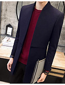 cheap Men's Jackets & Coats-Men's Daily / Sports Long Cotton Coat - Solid Colored, Print Stand / Long Sleeve