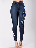 cheap Women's Jumpsuits & Rompers-Women's Street chic Plus Size Skinny Jeans Pants - Floral / Embroidered High Rise / Denim / Embroidery