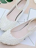 baratos Vestidos de Coquetel-Mulheres Sapatos Renda / Couro Ecológico Primavera / Outono Chanel Sapatos De Casamento Salto Baixo Miçangas / Pérolas Sintéticas /