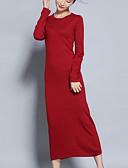 preiswerte Damen Kleider-Damen Ausgehen Niedlich Baumwolle A-Linie Strickware Kleid Solide Midi Übers Knie Hohe Hüfthöhe