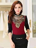 cheap Women's T-shirts-Women's Beach Work Going out Holiday Cute Chinoiserie Plus Size T-shirt - Color Block, Sequins Beaded Cut Out Mesh Crew Neck