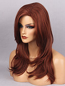 cheap Women's Fur & Faux Fur Coats-Synthetic Wig Wavy / Natural Wave With Bangs Synthetic Hair Red Wig Women's Long Capless Dark Red MAYSU