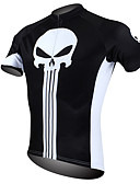 cheap Cycling Pants, Shorts, Tights-ILPALADINO Men's Short Sleeve Cycling Jersey - Black / White Skull Bike Jersey, Quick Dry, Ultraviolet Resistant, Breathable