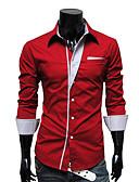 abordables Camisetas y Tops de Hombre-Hombre Casual/Diario Camisa Un Color A Rayas Manga Larga Algodón