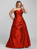 cheap Evening Dresses-Plus Size A-Line One Shoulder Floor Length Taffeta Prom / Formal Evening Dress with Beading / Side Draping by TS Couture®