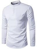 cheap Men's Shirts-Men's Cotton Shirt - Solid Colored Standing Collar