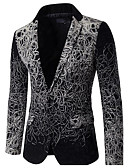 cheap Men's Blazers & Suits-Men's Street chic Sophisticated Slim Blazer-Solid Colored,Print / Long Sleeve