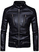 cheap Men's Jackets & Coats-Men's Basic Leather Jacket - Solid Colored Stand