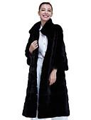cheap Women's Blazers & Jackets-Women's Daily Fall / Winter Long Fur Coat, Solid Colored Stand Long Sleeve Faux Fur Black XXL / XXXL / XXXXL