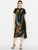 cheap Women's Dresses-Women's Plus Size Going out Sophisticated Loose / Chiffon / Swing Dress Print Stand / Summer