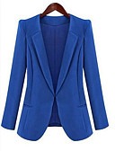 cheap Women's Blazers-Women's Work Simple Casual Blazer-Solid Colored Peter Pan Collar