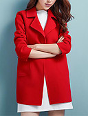 cheap Women's Downs & Parkas-Women's Plus Size Coat - Solid Colored Shirt Collar