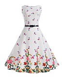 cheap Women's Dresses-Women's Holiday / Work Vintage Cotton Sheath / Swing Dress - Floral