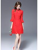 baratos Vestidos Femininos-Mulheres Para Noite Bainha Vestido Sólido Colarinho Chinês Acima do Joelho