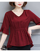 cheap Women's Blouses-Women's Going out Cute Blouse - Solid Colored V Neck