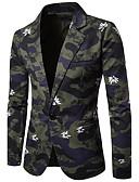 cheap Men's Blazers & Suits-Men's Blazer Print Peaked Lapel / Long Sleeve / Work