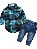 tanie Zestawy ubrań dla chłopców-Brzdąc Dla chłopców Kratka Pled Długi rękaw Bawełna Komplet odzieży