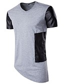 cheap Men's Shirts-Men's Cotton T-shirt - Color Block Round Neck
