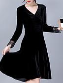 baratos Vestidos de Mulher-Mulheres Tamanhos Grandes Veludo Calças - Sólido Preto Preto / Decote V / Para Noite