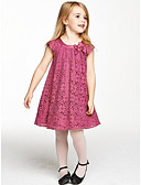 cheap Girls' Dresses-Girl's Solid Dress, Cotton Summer Sleeveless Bow Red