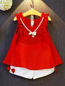 preiswerte Kleidersets für Mädchen-Mädchen Kleidungs Set Patchwork Kunstseide Polyester Sommer Ärmellos Schleife Gerüscht Rote