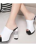 baratos Vestidos de Mulher-Mulheres Sapatos Couro Ecológico Verão Conforto / Plataforma Básica Sandálias Branco
