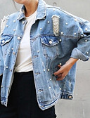cheap Women's Denim Jackets-Women's Denim Jacket - Solid Colored Shirt Collar / Fall