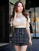 preiswerte Röcke-Damen Solide-Retro Anspruchsvoll Strand Klub Arbeit T-shirt,Rundhalsausschnitt Spitze Rüsche Gitter