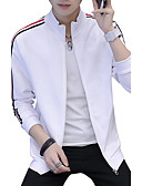 cheap Men's Jackets & Coats-Men's Plus Size Long Sleeves Sweatshirt - Striped Stand