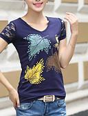 ieftine Tricou-Pentru femei În V - Mărime Plus Size Tricou Bumbac Copaci / Frunze Imprimeu / Vară