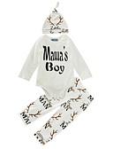 baratos Camisas Masculinas-bebê Para Meninos Conjunto Algodão Casual Estampado Inverno Primavera/Outono Algodão Manga Longa Branco