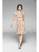 cheap Women's Dresses-JOJO HANS Women's Daily Sheath Dress,Solid Embroidered V Neck Above Knee 3/4 Length Sleeves Polyester Summer Mid Rise Micro-elastic Medium